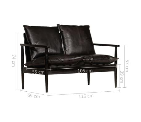 vidaXL Dvivietė sofa, tikra oda ir akacijos mediena, juoda[10/10]