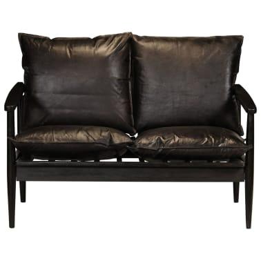 vidaXL Dvivietė sofa, tikra oda ir akacijos mediena, juoda[2/10]