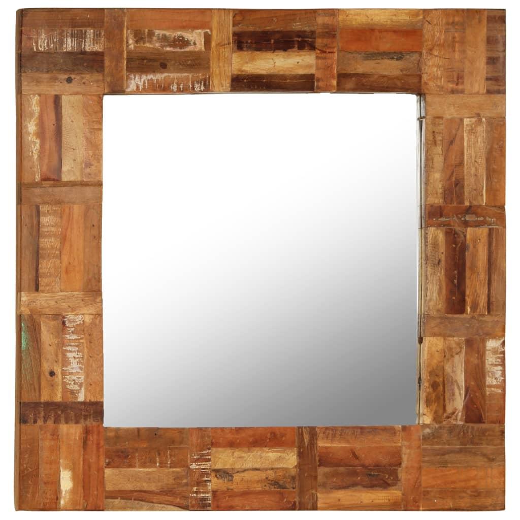 vidaXL Nástěnné zrcadlo z masivního recyklovaného dřeva 60 x 60 cm