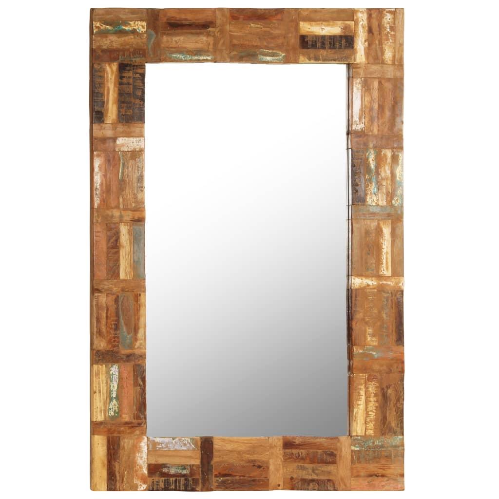 vidaXL Oglindă de perete, 60 x 90 cm, lemn masiv reciclat imagine vidaxl.ro