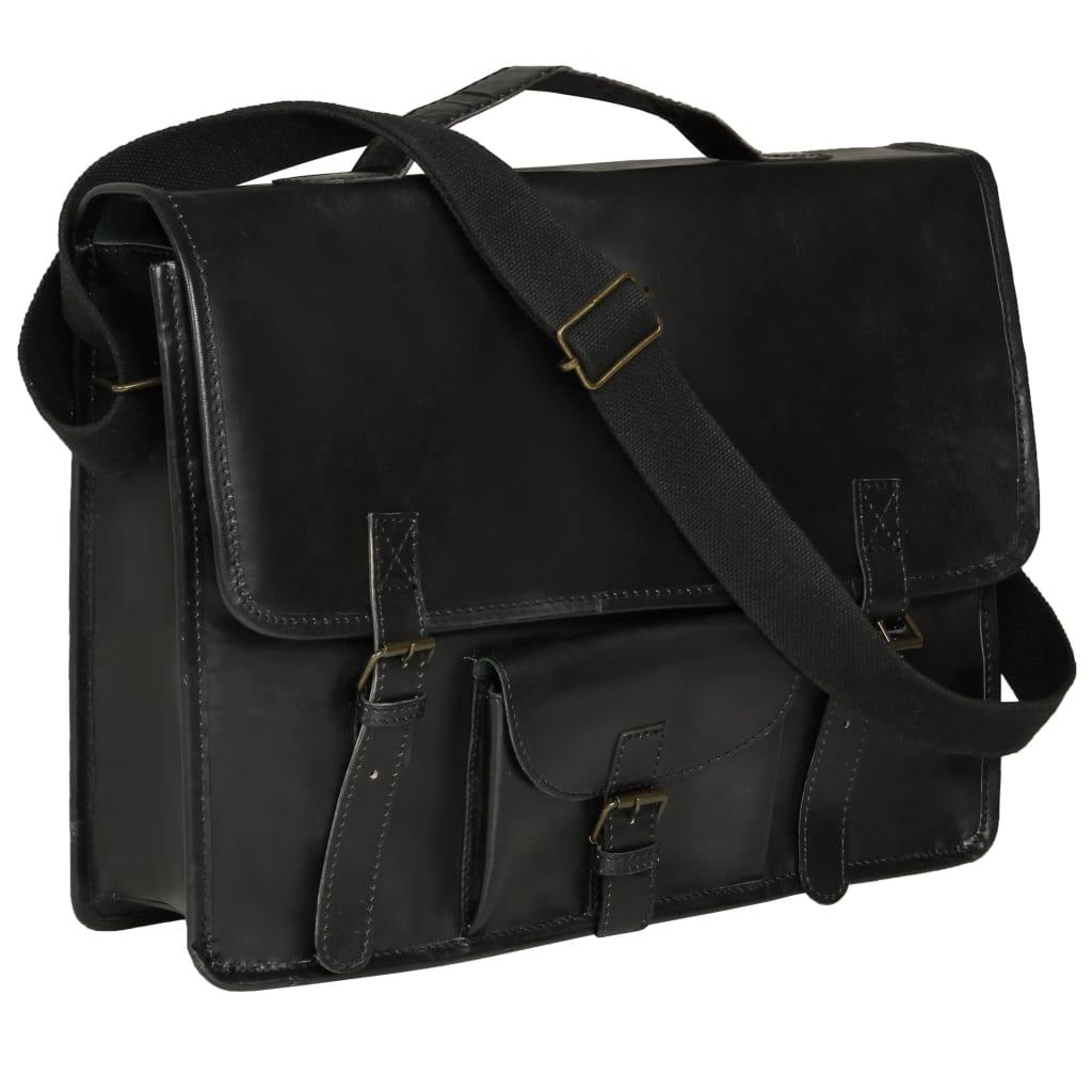 vidaXL Geantă de laptop, negru, piele naturală poza vidaxl.ro
