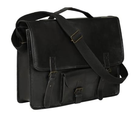 vidaXL Krepšys nešiojamam kompiuteriui, juodas, tikra oda