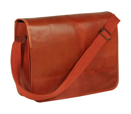 vidaXL Messenger Bag Real Leather Tan