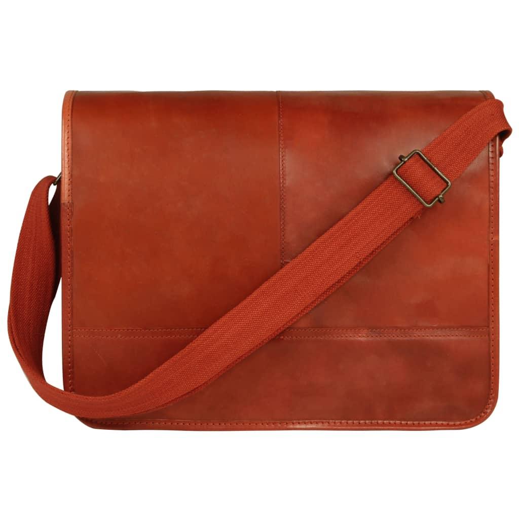 vidaXL Messenger taška přes rameno bronzová pravá kůže