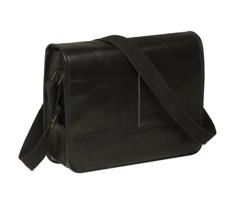 vidaXL Messenger taška přes rameno černá pravá kůže