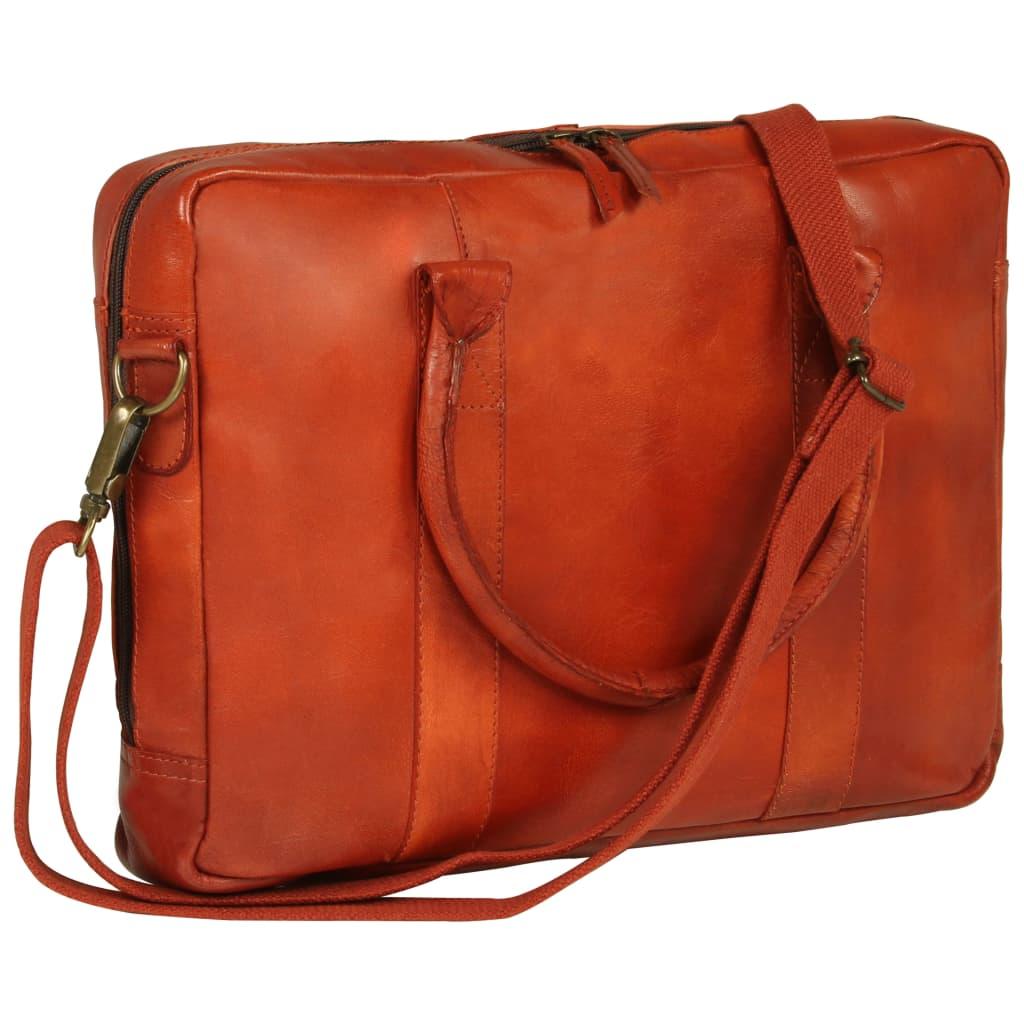 Taška na notebook se zipem bronzová pravá kůže