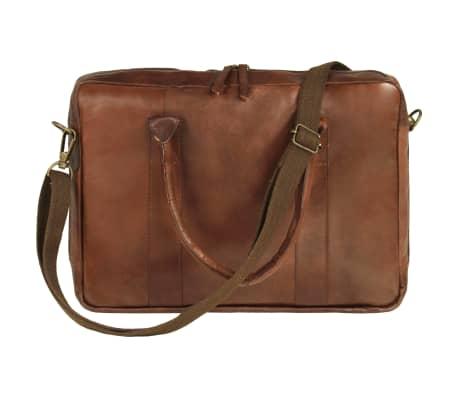 vidaXL Užsegamas krepšys nešiojamam kompiuteriui, rudas, tikra oda[2/5]