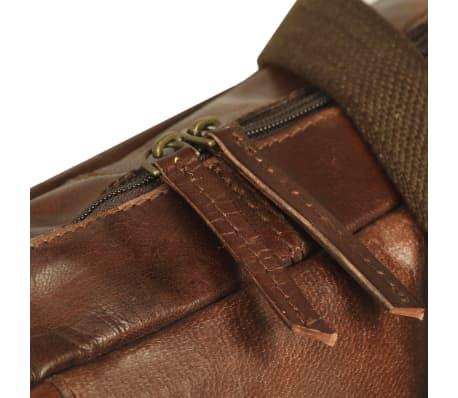 vidaXL Užsegamas krepšys nešiojamam kompiuteriui, rudas, tikra oda[4/5]