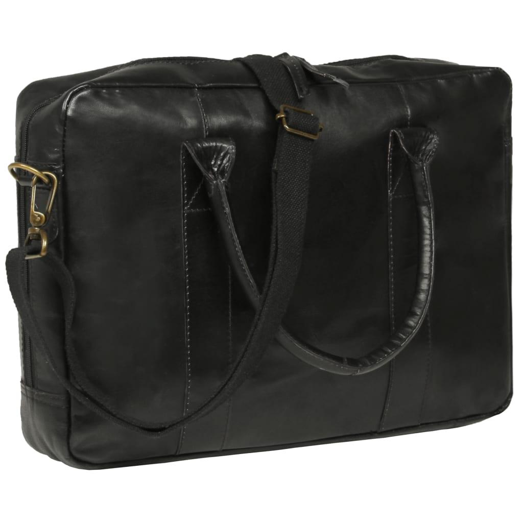 vidaXL Geantă de laptop cu fermoar, negru, piele naturală poza vidaxl.ro