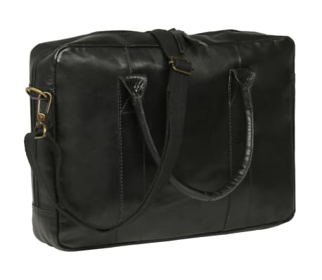 vidaXL Zippered Laptop Bag Real Leather Black