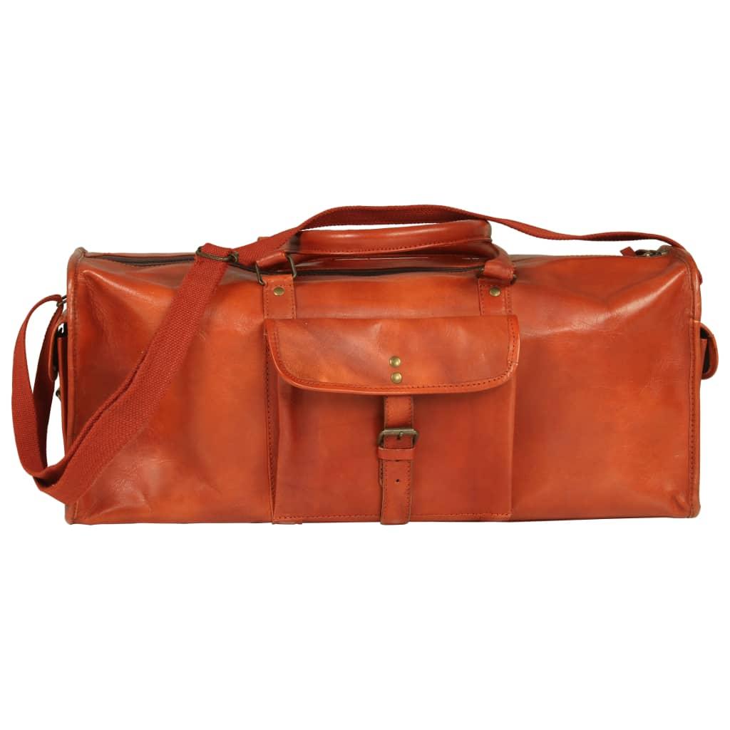 vidaXL Sportovní taška bronzová pravá kůže