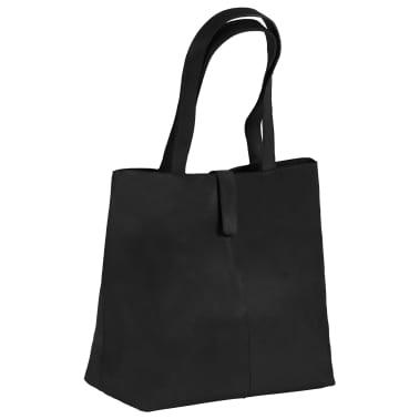 vidaXL Damska torebka shopperka z prawdziwej skóry, czarna[1/4]