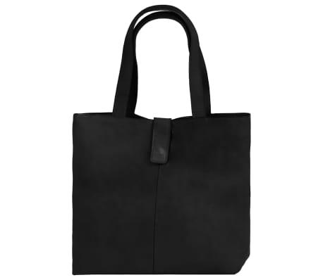 vidaXL Damska torebka shopperka z prawdziwej skóry, czarna[2/4]