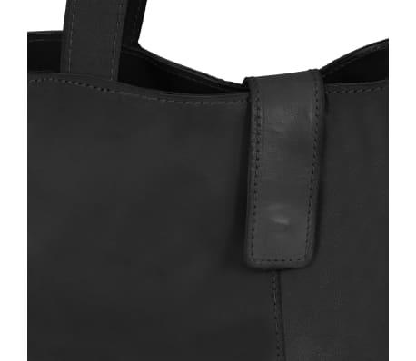 vidaXL Damska torebka shopperka z prawdziwej skóry, czarna[3/4]