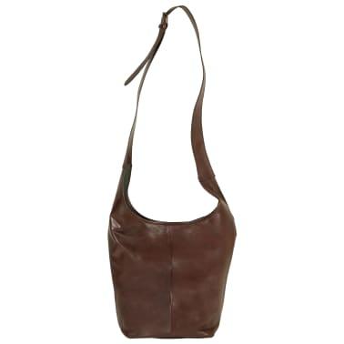 vidaXL Damenhandtasche Braun Echtleder[2/5]