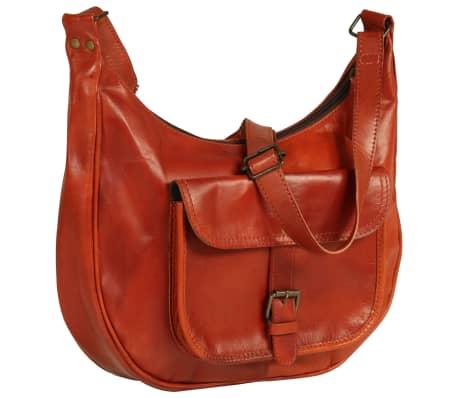 vidaXL Damska torebka z prawdziwej skóry, jasnobrązowa