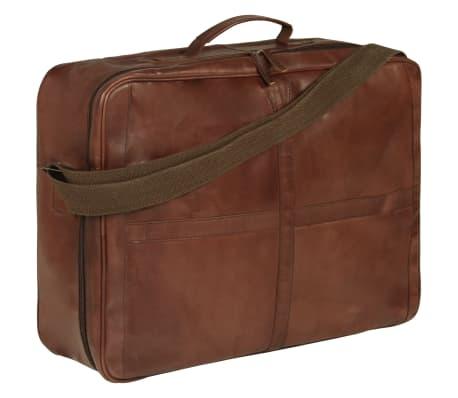 vidaXL Weekend Bag Real Leather Brown