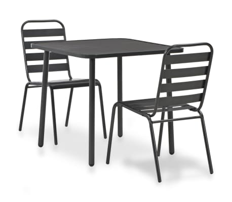 vidaXL 3 Piece Bistro Set Steel Dark Grey