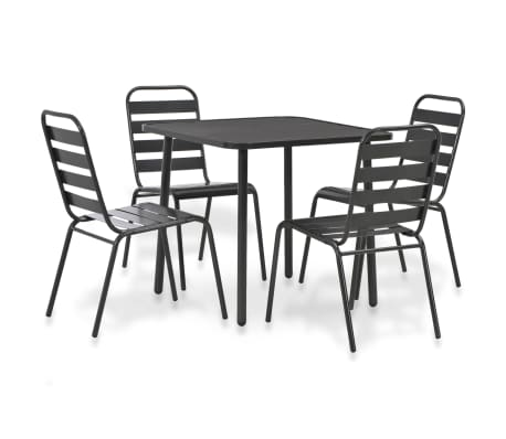 vidaXL 5 Piece Outdoor Dining Set Steel Dark Gray