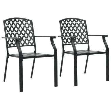 vidaXL Krzesła ogrodowe, sztaplowane, 2 szt., stalowe, czarne[1/7]