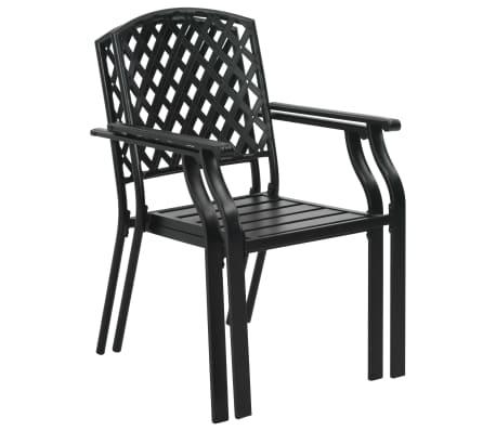 vidaXL Krzesła ogrodowe, sztaplowane, 2 szt., stalowe, czarne[2/7]