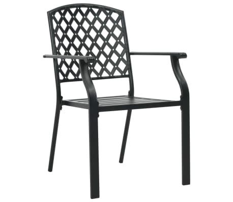 vidaXL Krzesła ogrodowe, sztaplowane, 2 szt., stalowe, czarne[4/7]