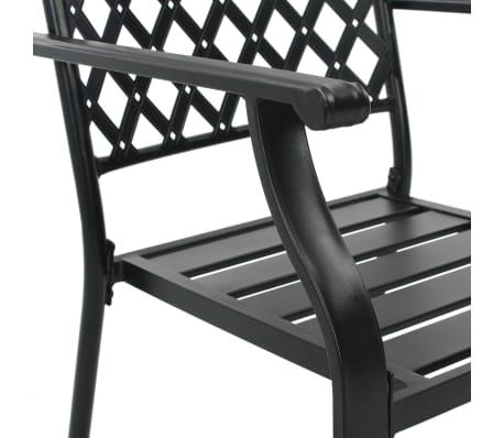 vidaXL Krzesła ogrodowe, sztaplowane, 2 szt., stalowe, czarne[6/7]