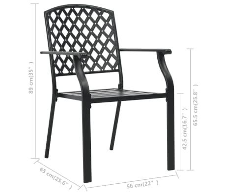vidaXL Krzesła ogrodowe, sztaplowane, 2 szt., stalowe, czarne[7/7]