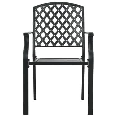 vidaXL Krzesła ogrodowe, sztaplowane, 2 szt., stalowe, czarne[3/7]