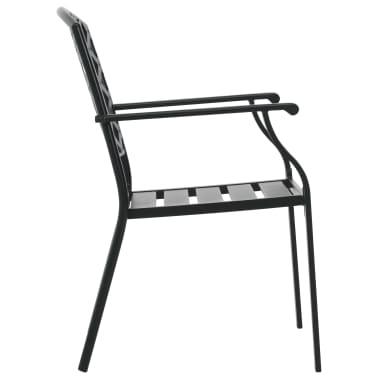 vidaXL Krzesła ogrodowe, sztaplowane, 2 szt., stalowe, czarne[5/7]