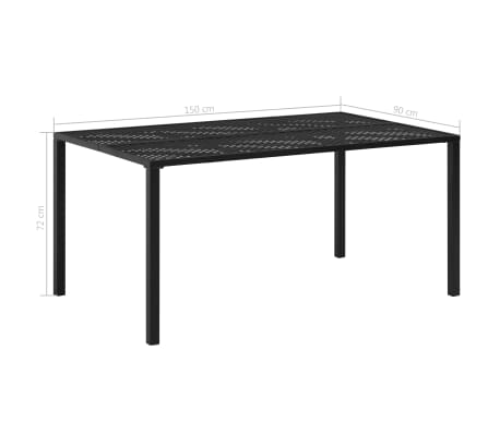 vidaXL Matbord för trädgården stål 150x90x72 cm svart nät[4/4]
