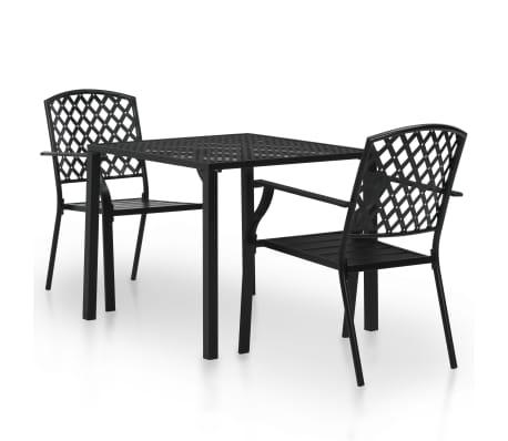 Vidaxl Set Tavolo E Sedie Da Bistro 3 Pz In Rete Acciaio Nera Bar Da Giardino Ebay