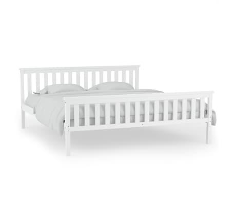 Vidaxl estructura de cama de madera de pino maciza 140x200 for Camas blancas de madera