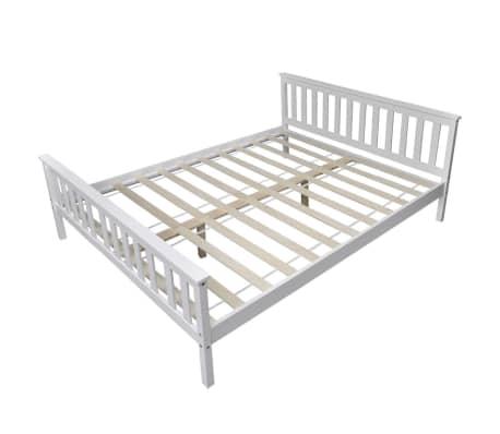 acheter vidaxl cadre de lit bois de pin massif 160 x 200 cm blanc pas cher. Black Bedroom Furniture Sets. Home Design Ideas