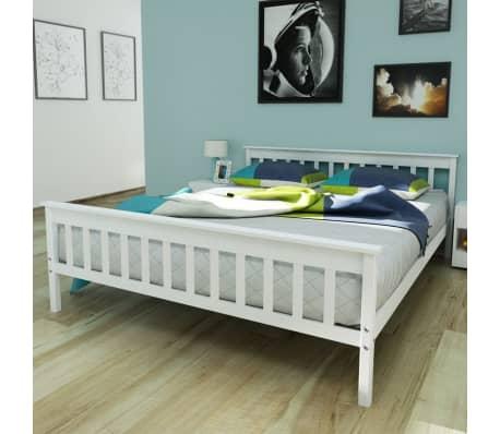 Vidaxl telaio del letto in legno massello di pino 160x200 cm bianco - Telaio del letto ...