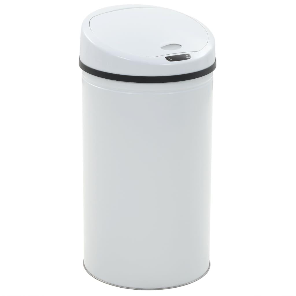vidaXL Coș de gunoi cu senzor, 42 L, alb poza vidaxl.ro