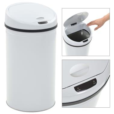 vidaXL Coș de gunoi cu senzor, 42 L, alb[2/8]