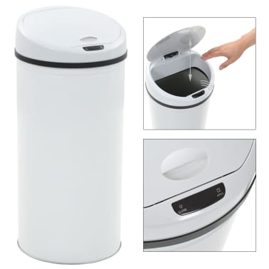 vidaXL Cubo de basura con sensor 52 L blanco[2/8]