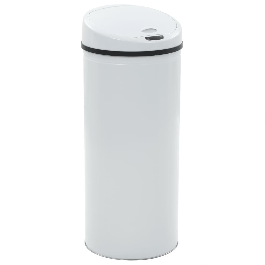 vidaXL Coș de gunoi cu senzor, 62 L, alb imagine vidaxl.ro