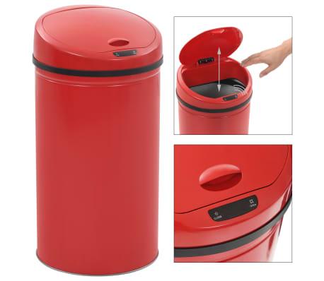 vidaXL Coș de gunoi cu senzor, 42 L, roșu[2/8]
