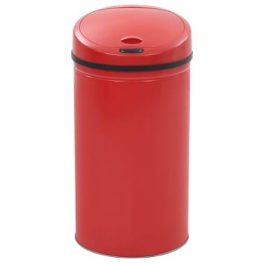 vidaXL Coș de gunoi cu senzor, 42 L, roșu[3/8]