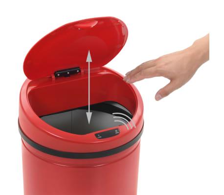 vidaXL Kosz na śmieci z czujnikiem, 62 L, czerwony[5/8]