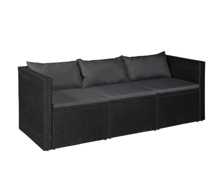 vidaXL 3 Seater Garden Sofa Black Poly Rattan with Gray Cushions