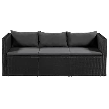vidaXL 3 Seater Garden Sofa Black Poly Rattan with Gray Cushions[2/4]