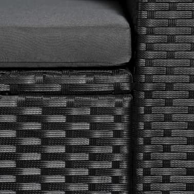 vidaXL 3 Seater Garden Sofa Black Poly Rattan with Gray Cushions[3/4]