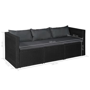 vidaXL 3 Seater Garden Sofa Black Poly Rattan with Gray Cushions[4/4]