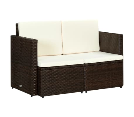 vidaXL 2 Seater Garden Sofa with Cushions Brown Poly Rattan[1/3]