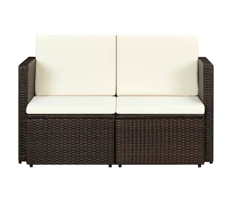 vidaXL 2 Seater Garden Sofa with Cushions Brown Poly Rattan[2/3]
