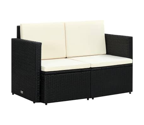 vidaXL 2 Seater Garden Sofa with Cushions Black Poly Rattan[1/4]