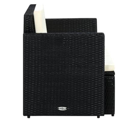 vidaXL 2 Seater Garden Sofa with Cushions Black Poly Rattan[3/4]